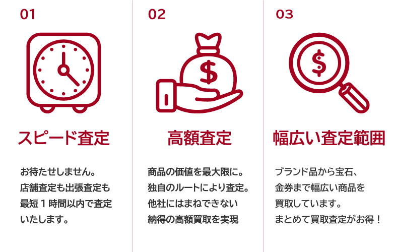 銀座パリス横浜天王町店の選ばれる理由|スピード査定、高額査定、幅広い査定範囲